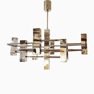 Vintage Graphic Chrome Chandelier by Gaetano Sciolari, 1970s