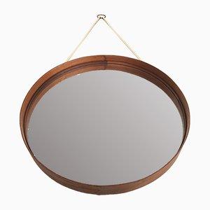 Espejo sueco redondo de teca de Glasmäster, años 60