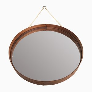 Swedish Round Teak Mirror from Glasmäster, 1960s