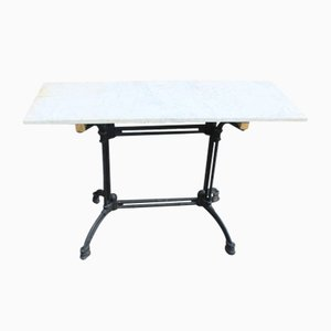 Marble Top Garden Table on Black Iron Base, 1910s