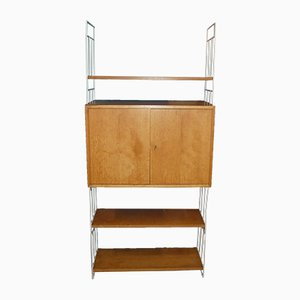 Mid-Century White and Light Veneer 2-Ladder & 3-Shelf Wall Cabinet, 1960s