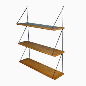 Mid-Century Light Wood Filigree Ladder Shelf, 1960s