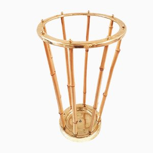Bamboo and Gilt Brass Umbrella Holder, Italy, 1950s