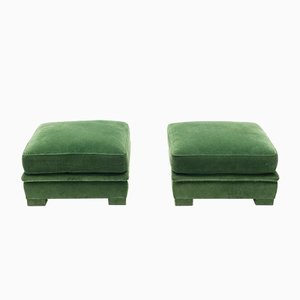 Neoclassical Style Green Velvet Poufs from Maison Jansen, 1970s, Set of 2