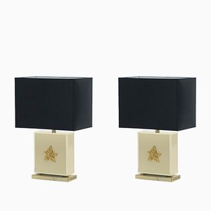 Lacquered Brass Table Lamps by Jean Claude Mahey for Maison Roméo, 1970s, Set of 2