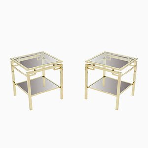 Tables de Salon en Laiton par Guy Lefevre pour Maison Jansen, 1970s, Set de 2
