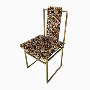 Mid-Century Italian Dining Chairs and Gold Metal and Velvet, 1970s, Set of 6