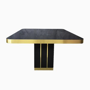Mid-Century Italian Dining Table in Black Lacquered Wood and Brass Finish, 1970s