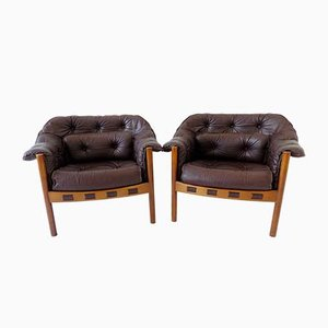 Brown Leather Lounge Chairs by Sven Ellekaer for Coja, 1960s, Set of 2