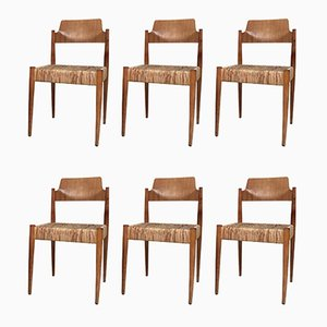 German SE119 Church Chairs with Wicker Seats by Egon Eiermann for Wilde+Spieth, 1950s, Set of 6