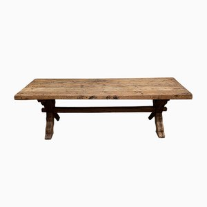 Large Antique Rustic French Oak Farmhouse Dining Table
