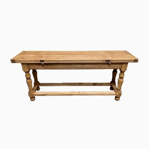 Antique French Bleached Oak Farmhouse Kitchen Dining Table with Folding Top