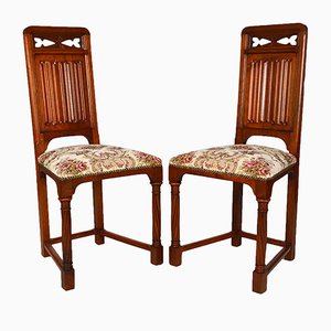 19th Century Victorian Gothic Revival Chairs in Carved Walnut, Set of 2