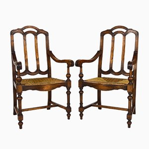 Antique French Gothic Revival Rustic Rush Seat Armchairs in Walnut, Set of 2