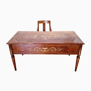 Vintage Italian Louis XVI Style Inlaid Walnut and Maple Desk & Stool, Set of 2