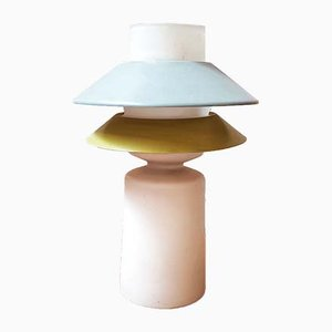 Italian Opaline and Lacquered Metal Table Lamp in the Style of Stilnovo, 1960s