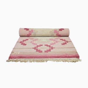 Vintage Scandinavian Handwoven Pink Wool Rug, Sweden, 1960s