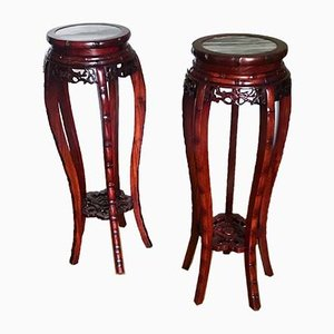Mid-Century Chinese Faux Bamboo & Rosewood Side or End Tables with Marble Top, 1940s, Set of 2