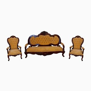 19th Century Italian Luigi Filippo Rosewood & Walnut Living Room Set, Naples, Set of 3