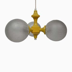 Vintage Space Age Yellow and White Spherical Ceiling Lamp, 1970s