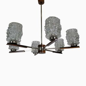 Mid-Century Teak and Crystal Glass 6-Flame Chandelier, 1960s