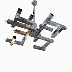 Lámpara de araña Futura italiana de metal y cromo de Gaetano Sciolari, años 70