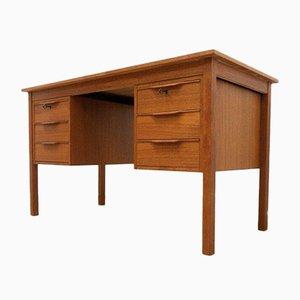 Mid-Century Danish Teak Pedestal Desk from Bent Silberg Mobler, 1950s