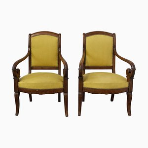 19th Century French Louis Philippe Armchairs, Set of 2