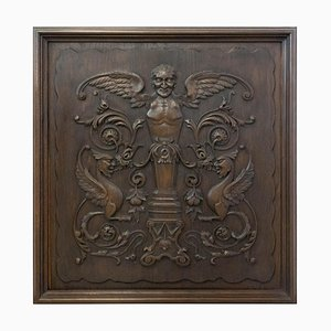 19th Century French Renaissance Chimera Plaque Carved Wood Panel