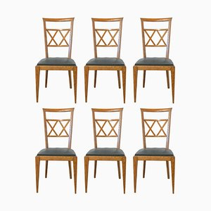 Mid-Century French Crossed Wood Back Dining Chairs, 1950s, Set of 6