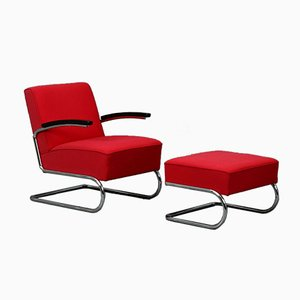 Bauhaus Red S411 Cantilever Lounge Chair & Ottoman from Thonet, Set of 2