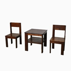 Early Modernism Chairs & Table from L.O.V. Oosterbeek, 1925, Set of 3