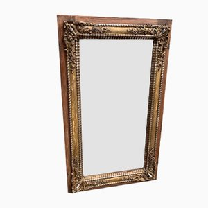 Large Antique French Distressed Carved Wood & Gesso Original Silver Gilt Ribbed Framed Mirror