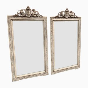 Antique French Carved Wood & Gesso Painted Mirrors, Set of 2