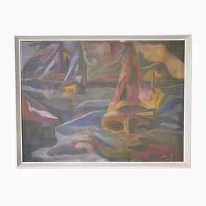 Pittura ad olio astratta vintage di una nave di Nath, anni '70