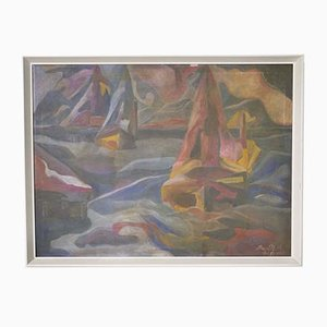 Vintage Abstract Art Sea Ship Oil on Canvas Painting by Nath, 1970s