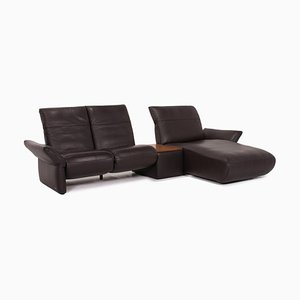Dark Brown Leather Corner Function Sofa from Koinor