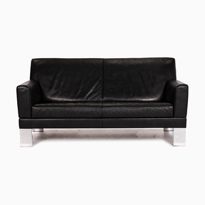 Black Leather 2-Seat Sofa from Jori