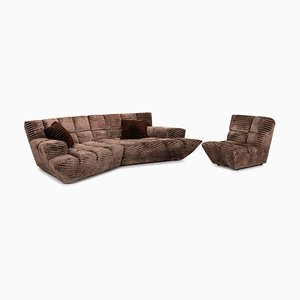 Brown Fabric 7 Cloud Corner Sofa & Armchair by Bretz Brothers for Bretz, Set of 2