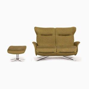 Olivgrünes Relax-Funktion Sofa & Hocker von Joop !, 2er Set