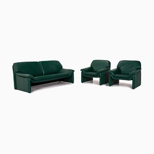 Dark Green Leather Atlanta 2-Seat Sofa & Armchairs from Laauser, Set of 3