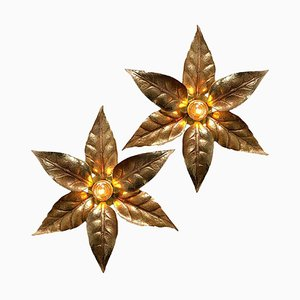 Brass Flowers Wall Light in the Style of Willy Daro from Massive Lighting, 1970s