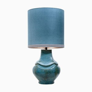Dutz Ceramic Table Lamp with Silk Lampshade, 1960s