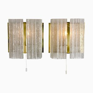 Brass and Glass Wall Sconces by Doria Leuchten Germany, 1960s, Set of 2