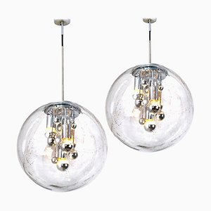 Large Hand-Blown Bubble Glass Pendant Lamps by Doria Leuchten Germany, 1970s, Set of 2