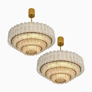 Large Murano Glass Chandeliers by Doria Leuchten Germany, 1960s, Set of 2