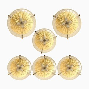 Large Thick Handmade Glass and Brass Flush Mount or Wall Light by Hillebrand, 1969