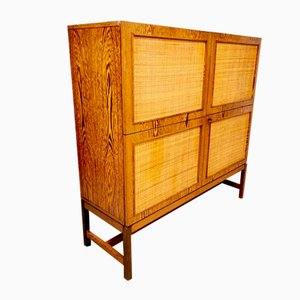 Mid-Century Bohemian Rosewood & Rattan Drinks Cabinet, 1960s