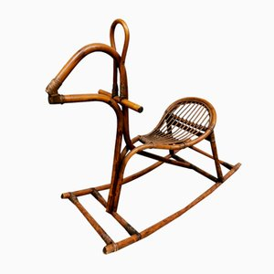 Mid-Century Italian Bamboo and Rattan Rocking Horse, 1960s