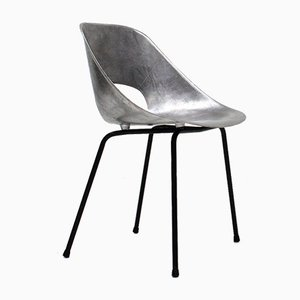 Cast Aluminium Tonneau Chair by Pierre Guariche for Steiner Meubles, Paris, 1950s